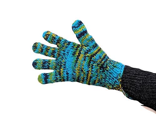 Wool Finger Gloves Multicoloured  Fleece Lined (2 Sizes 4 Colours)