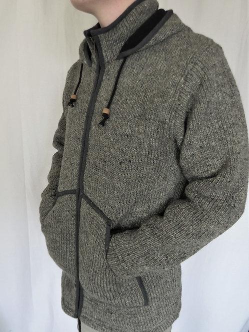 Grey Collar and Hood Wool Jacket Fleece Lined