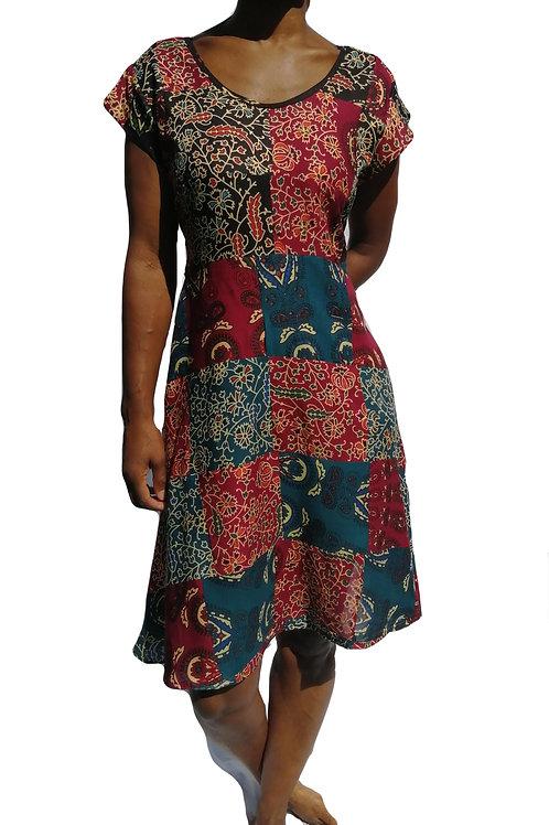 Bagru Patchwork Rayon Dress