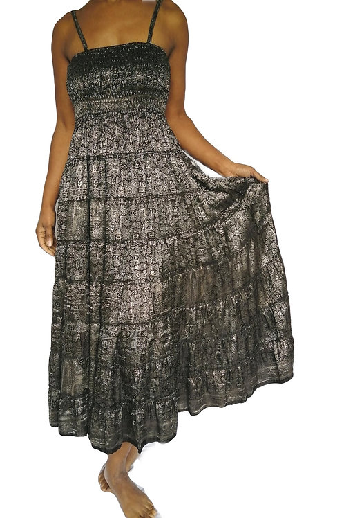 Vintage Satin Sari Heavy Silver Dress and Skirt