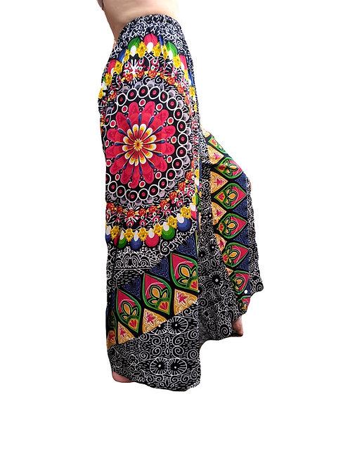 Mandala Flower Flared Rayon Trousers