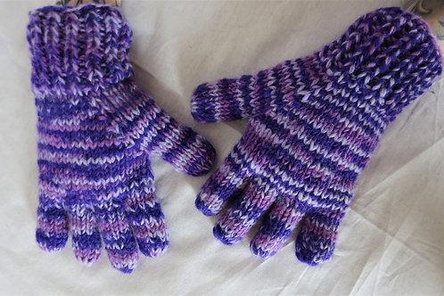 Multi Purple Wool Finger Gloves Fleece Lined (2 Sizes)
