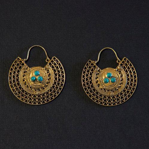 Brass with Triple Stone Earring