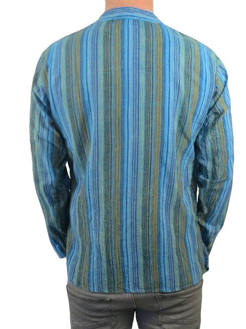 Turquoise Nepal Stripe Stonewash Cotton Long Sleeve Shirt
