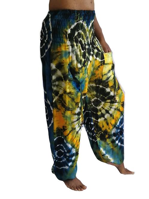 Circle Tie Dye Pocket RAYON Natan Trousers (in 3 Colours)