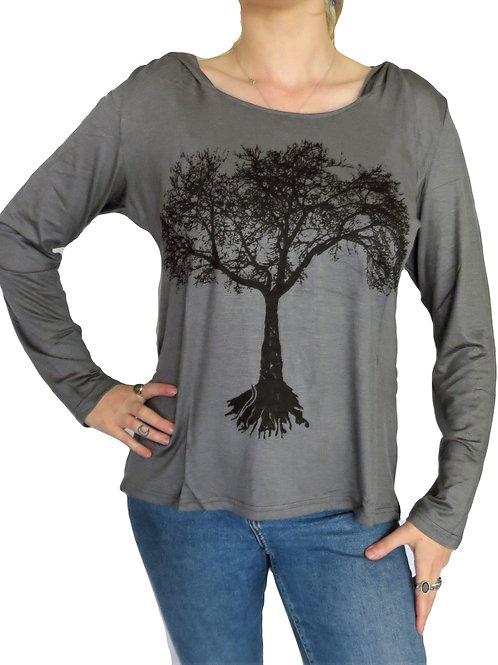 Long Sleeve Tree Print Hood Top