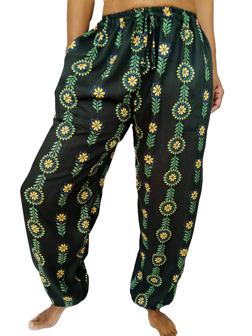 Green Rayon Yellow Flower Side Pocket Balloon Trousers