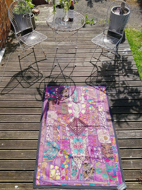 Extra Large Upcycled Embroidery Purple Tones
