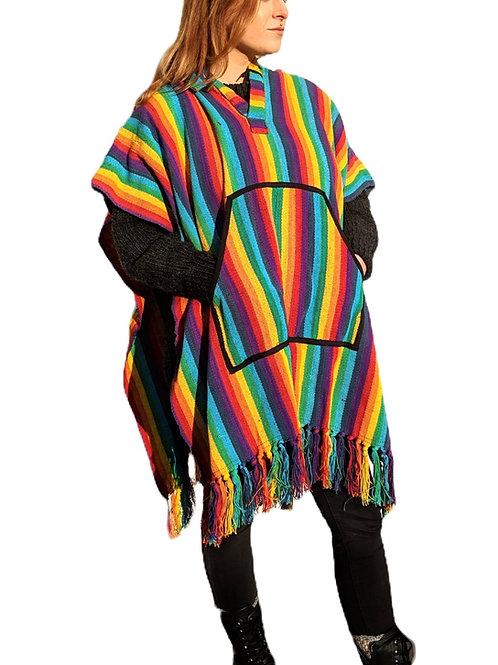 Woven Cotton Rainbow Poncho