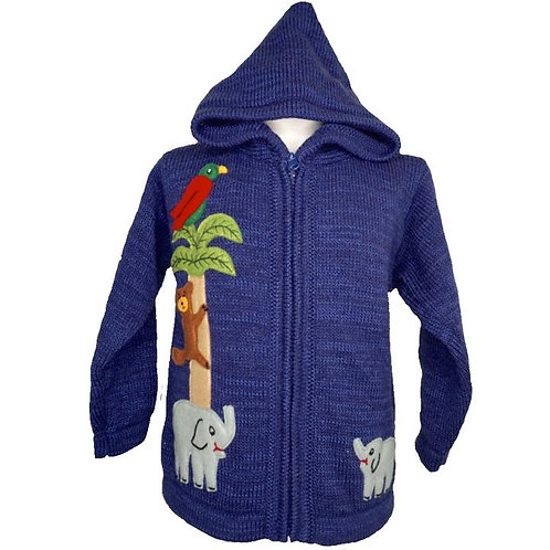 Childrens Elephant Jungle Cardigan With Hood