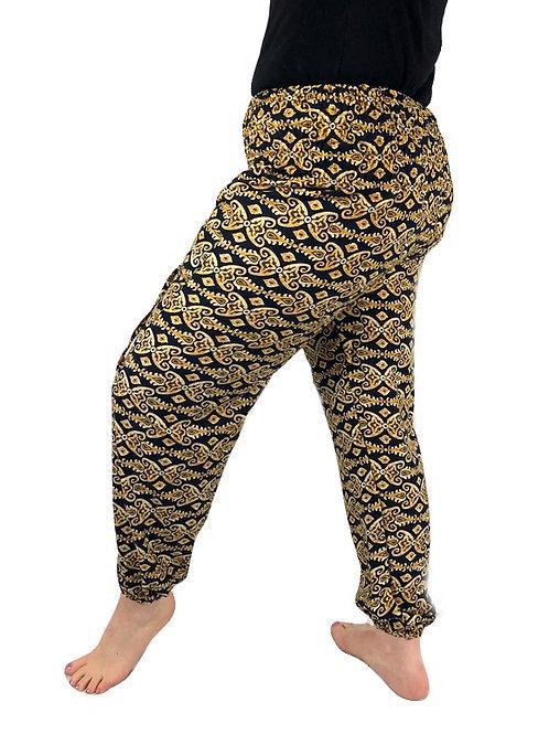 Rayon Black Mustard Abstract Print Natan Trousers