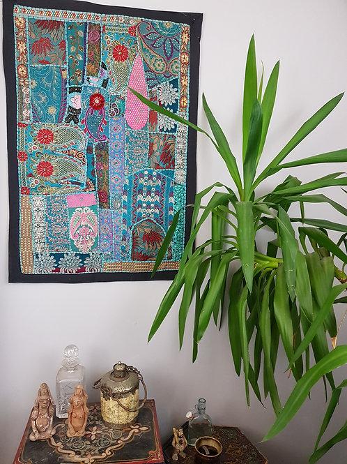 Medium Turqoise Tones Upcycled Embroidery Hanging