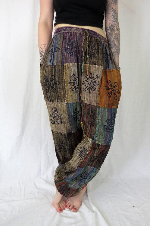 Patchwork Stripe Stonewash Blockprint Elastic Bottom Trousers (colours vary)