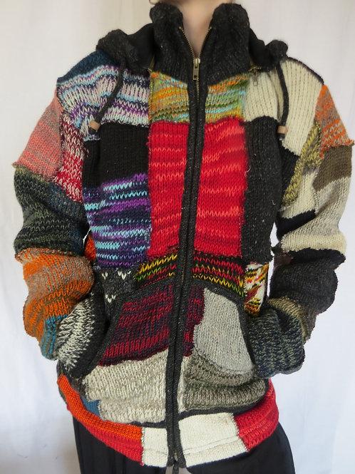 Multi Patchwork Hood Wool Jacket
