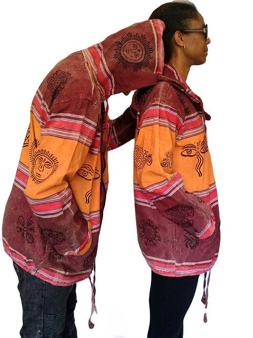 Blockprint Cotton Stripe Shyama Zip Jacket