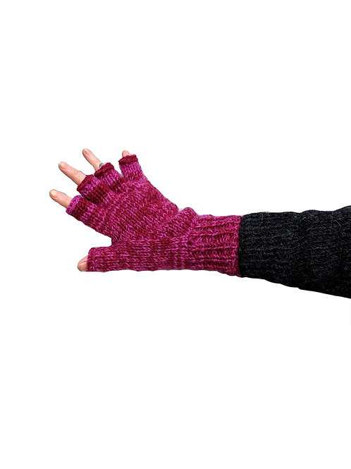 """""""Mulled Wine"""""""" Fingerless Gloves Fleece Lined"""