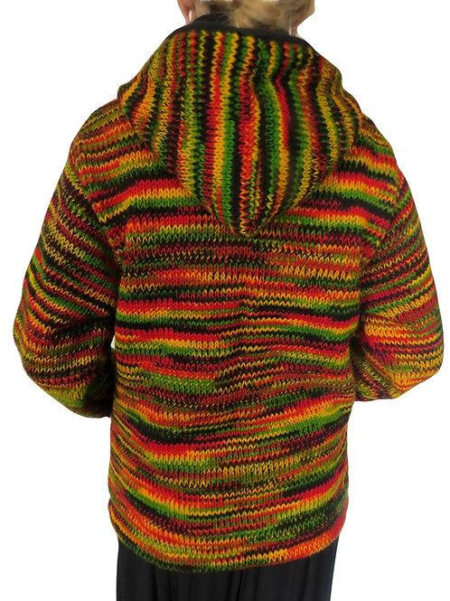 """Multi """"Rasta"""" Removable Hood Wool Jacket"""