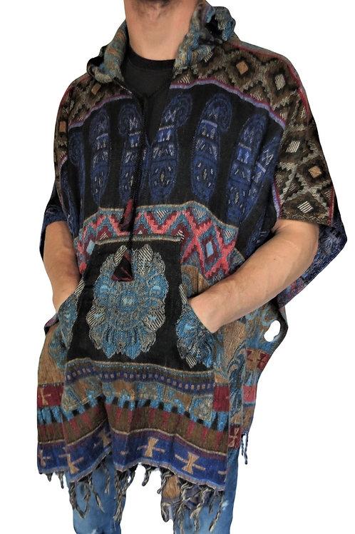 "Indian Acrylic Shawl ""Feels like Wool"" Hood Poncho (in 4 Colours)"