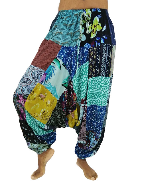 Print Rayon Patchwork Overdye Hareem/Afghan Trousers (In 3 Colours)