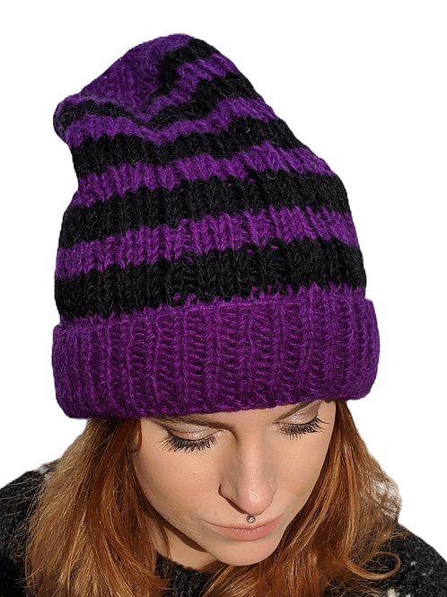 Beanie Wool Hat Black and Purple. Fleece Lined.
