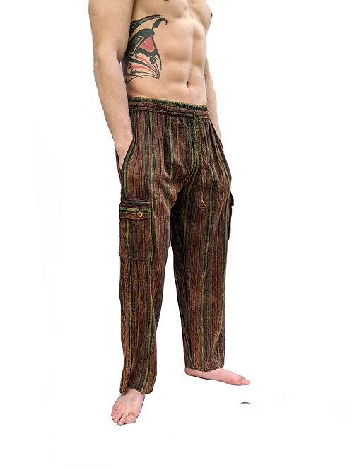 Green Dark Red Nepal Stripe  Stonewashed Overdyed  Box Pocket Trouser or Culot