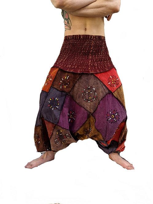 Multi Elastic  Painted Patchwork Stonewash BlockprintUNISEX Afghan Trousers