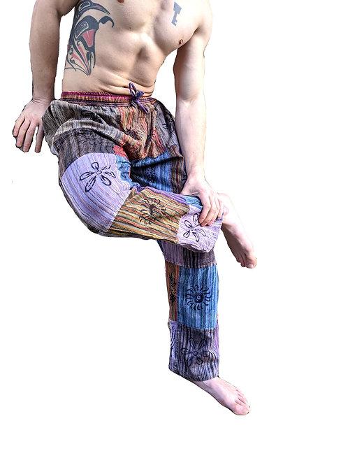 Purple Overdye Patchwork Stonewash Blockprint Trousers