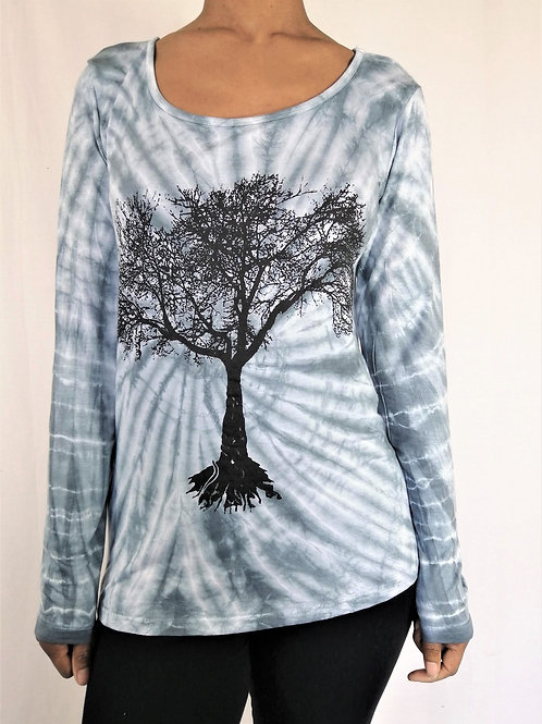 Long Sleeve Tie Dye Tree Print Round Neck Top (in 2 Colours)