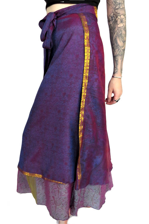 Recycled Shadow Sari Wrap Skirt (Various Colours)