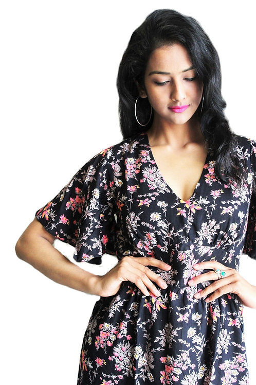 Butterfly Sleeve Long Flower Print Dress