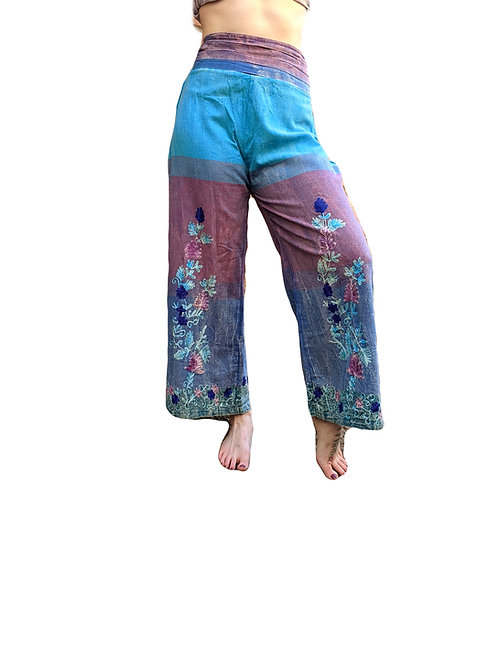 Flower Embroidery 3 Tone Stonewashed Cotton Flared Trousers