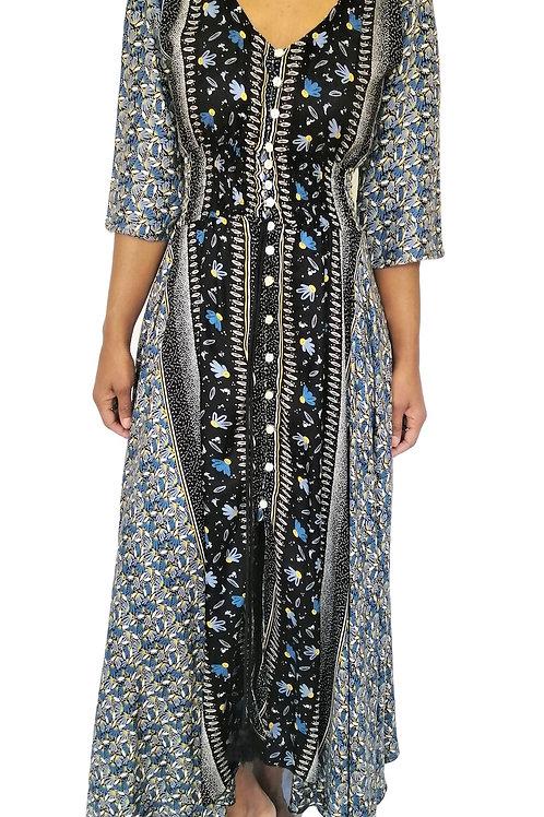 Long Full Button Mini Flower Print Dress