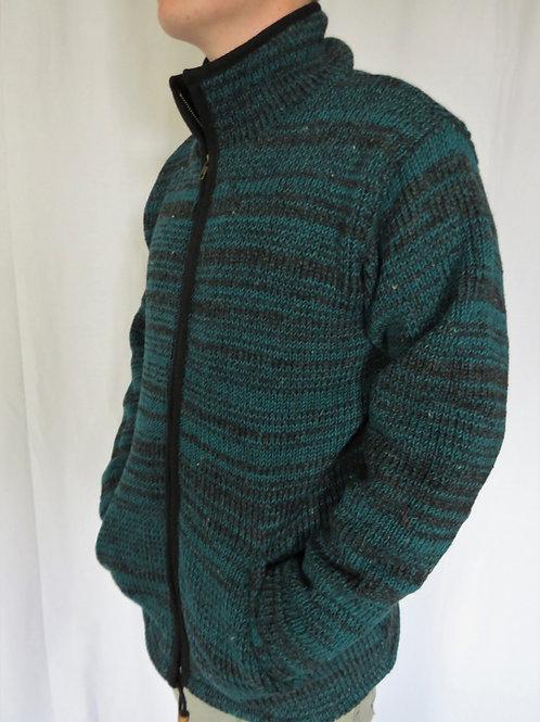 Green Multi Wool Collar Jacket Fleece Lined