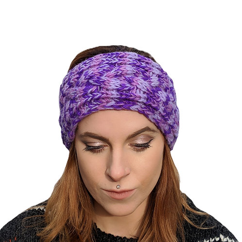 "Headband ""Purple Mist"""" Wool and Fleece."