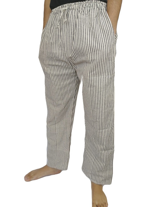 Indian Black and White Stripe Woven Cotton Pocket Trouser
