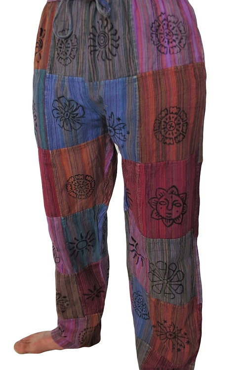 Patchwork Elastic Bottom Blockprint Trousers (in 2 Colours)