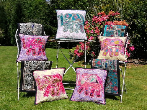 Cushion Cover Elephant Vintage Embroidery Patchwork