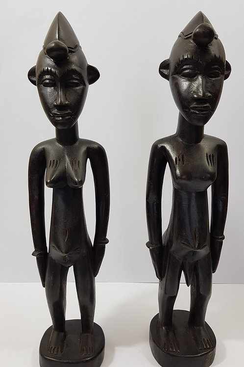 Man and Woman Standing Statues Ivory Coast