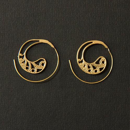 Brass Tribal Swirl Spiral Earring