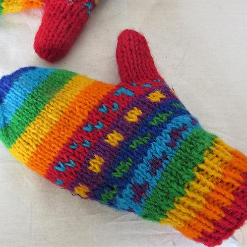 Rainbow Mittens Fleece Lined