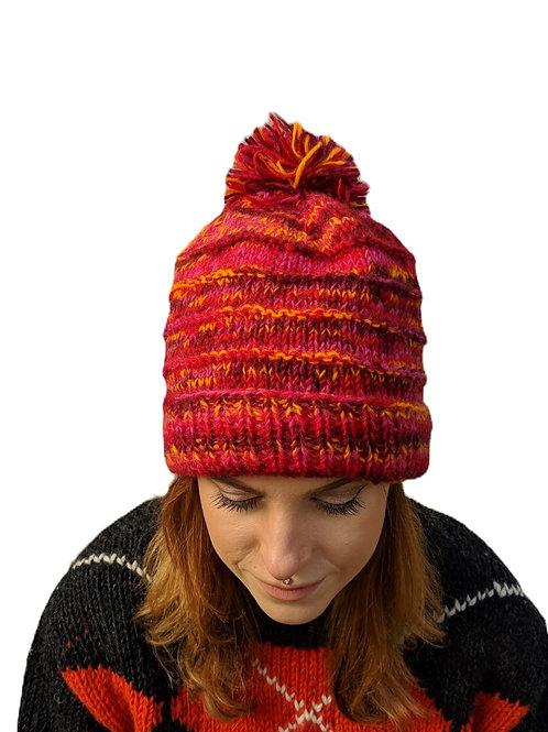 """Bobble Wool Hat""""Pink Sunburst"""". Fleece Lined.olol"""