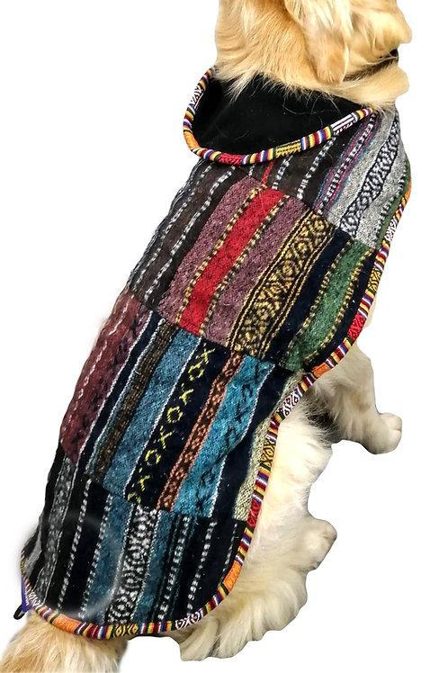 Colour Patchwork Brush Cotton Fleece Lined Dog Jacket