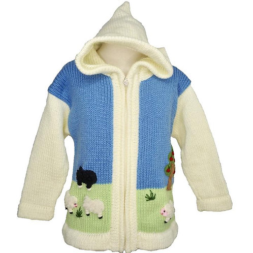 Childrens Sheep Cardigan With Hood