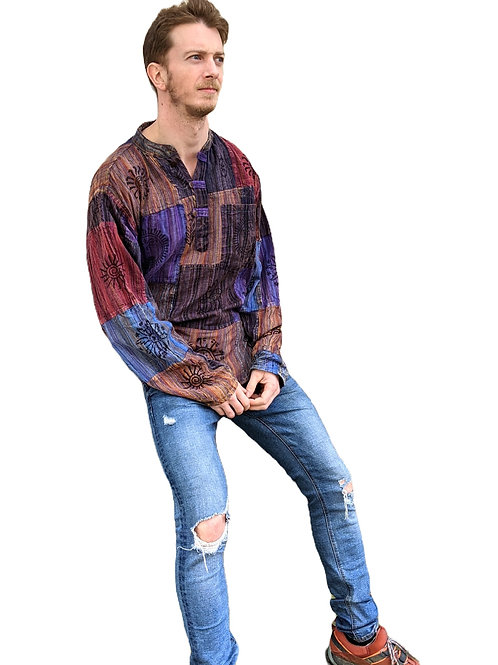 Patchwork Overdye  Blockprint Stripe Stonewash L/S Cotton Shirt