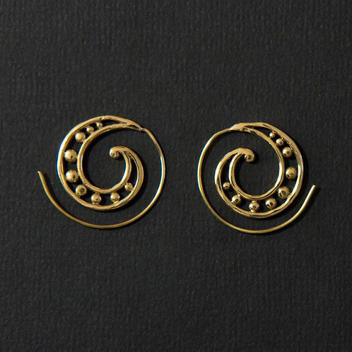 Brass Tribal Orbs Spiral Earring