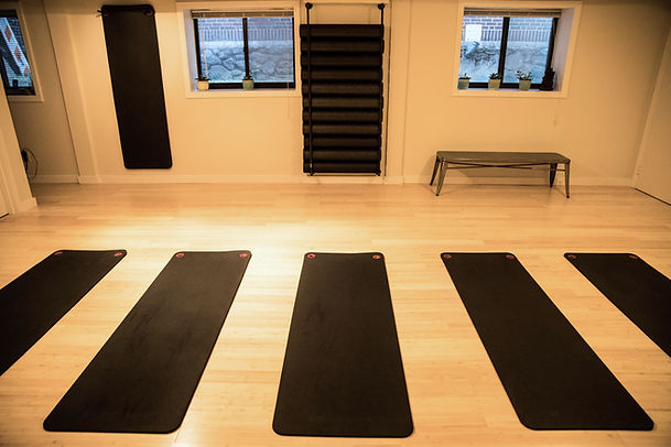 New mat class studio with exercise mats and equipement, sound MOVEMENT PILATES & GYROTONIC METHOD STUDIO, LARCHMONT, NY.JPG