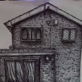 Realistic House drawing in biro (Time taken: 6 hours)