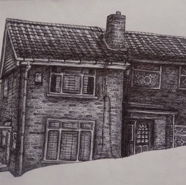 Realistic House drawing in biro (Time taken: 5 hours)