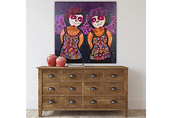 Two Mexican catrinas by mexican artist Jazmin Sasky