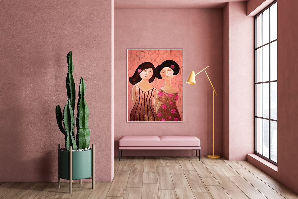 An oil painting of women by artist Jazmin Sasky hangs from a home in Vancouver, Canada
